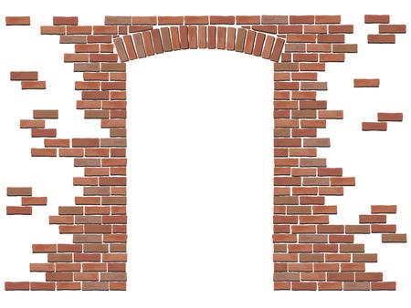 arcos de piedra: Arco en la pared de ladrillo rojo. Vector aislados elementos en el fondo blanco.
