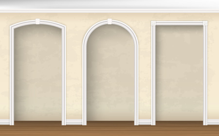 column arch: The arches of different shapes in the wall. Architectural element of interior decoration. realistic illustration.