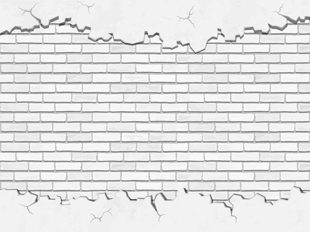 cracked wall: White brick and  old cracked concrete wall Illustration