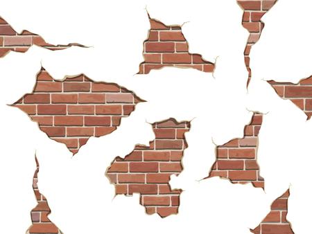 pared rota: Establecer grietas en concreto y ladrillo en mal estado viejos. Vectores