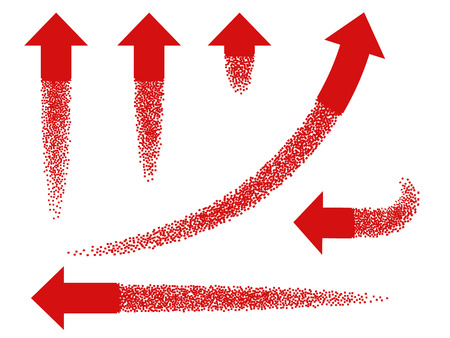 Set of various red arrow symbol. Arrows are like rocket flying up leaving a trail of small particles.