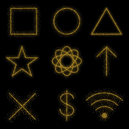 gold rush: Gold symbols on black background: circle, square, triangle, cross, dollar, web, ellipse, arrow. Icons are made in the style of golden stipple. Illustration