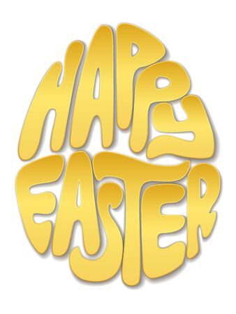 out of shape: Happy Easter lettering, letters cut out of gold in the shape of an egg. Realistic illustration.