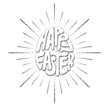 diverging: Hand drawing lettering Happy Easter in the form of Easter egg and diverging sun rays. Illustration