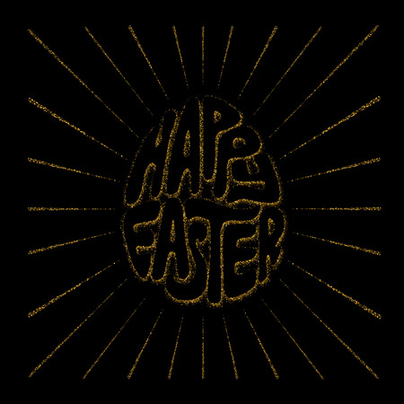 gold rush: Happy Easter lettering in the form of Easter egg and diverging sun rays. Illustration