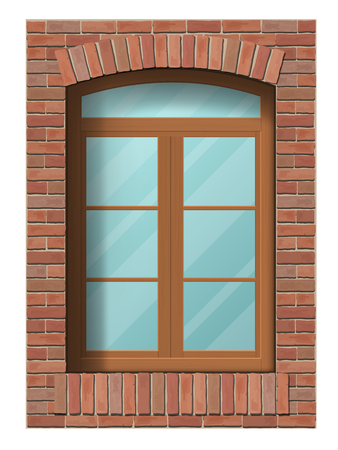 Arched classic window in brick wall. Architectural element of the building facade. Stock Illustratie