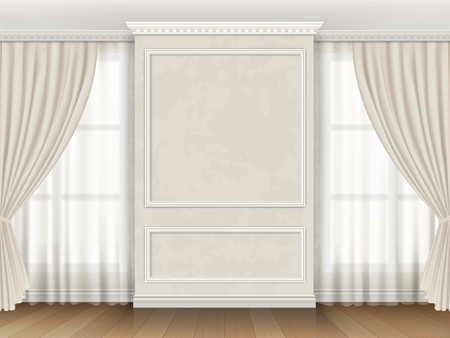 Classic interior with panel moldings and windows curtains. Stock Illustratie