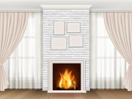 Classic interior with white brick fireplace  and windows curtains. Ilustração