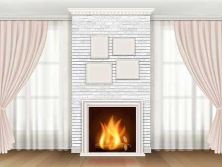 Classic interior with white brick fireplace  and windows curtains. Stock Illustratie