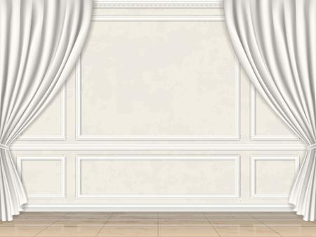 Pared de la vendimia en las molduras del panel decorado de estilo clásico y cortinas.
