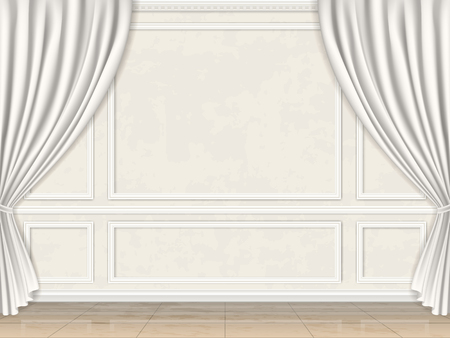 Vintage wall in classic style decorated panel mouldings and curtains.
