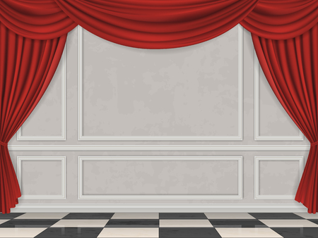 Wall decorated moulding panels, checkered floor and red curtain. Stock Illustratie