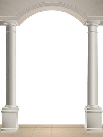 romana: Clásica columnas y el arco aislado, suelo de baldosas.