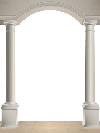 Classical columns and arch isolated, tiled floor. Illustration