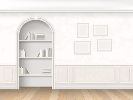 molding: The wall room with arch, books and decorative wall panels - molding. Niche with the books on the shelves, decorated in a classic style.