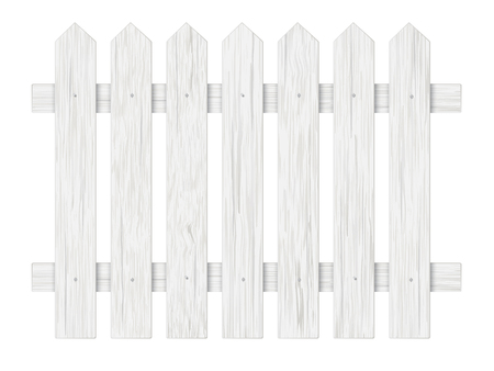 White wooden fence, barrier in the garden on the farm or in the village. Element front garden landscaping.