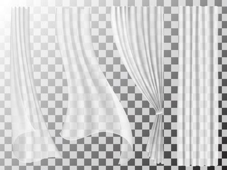 Zestaw przezroczystych zasłon różnych formach. Macha w wiatr i wiszące zasłony do dekoracji okna.