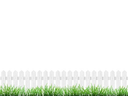 grass isolated: White wooden fence and green grass isolated on white background. Illustration
