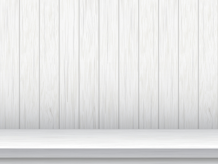 White empty wooden table before wall of vintage wooden planks. Vector background.