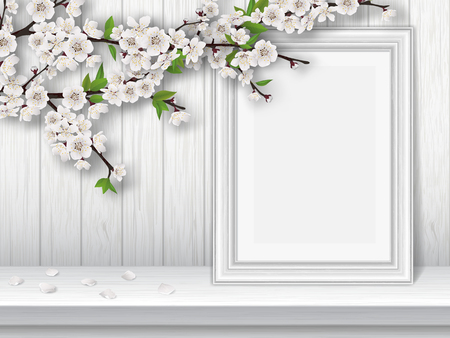 table decor: Spring blooming cherry branch and photo frame on a white table. Spring vintage interior decor. greeting card template. Illustration