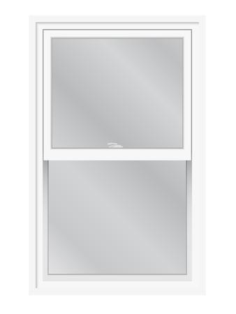 finestra: Doppia finestra appeso isolato. Tradizionale inglese o americano di sollevamento, finestra scorrevole, vista esterna. Vettoriali