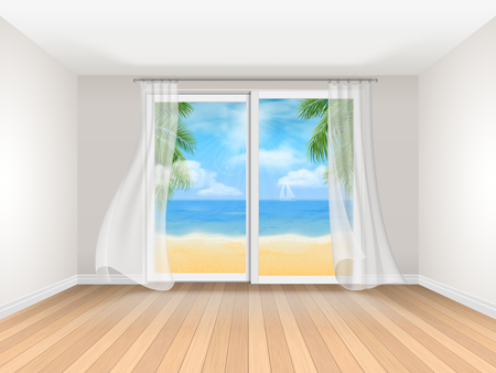 summer holidays: Empty room with sliding window and sea view. Realistic interior. Room at the hotel on the coast. Template for travel illustration.