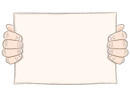 point of demand: Two man hand and paper page. Hand hold poster or placard. Line drawing, colored. Illustration