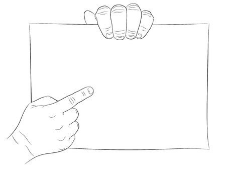 point of demand: Two man hand and paper page hand pointing and hand hold. Line drawing, black.