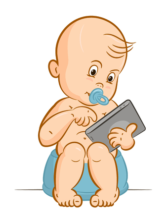 infant: Child and tablet computer. Baby holding a gadget, and sitting on the pot.