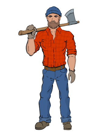 brutal: Lumberjack. Rural man holds axe in hands, wearing a plaid shirt, jeans and boots. Brutal fashion style. Illustration