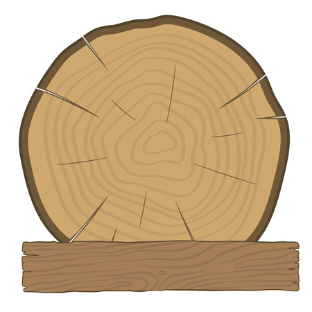 log on: The log and wooden board - timber label. Tree with growth rings and an old wooden board.