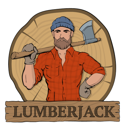 logger: Lumberjack. Rural man holds axe in hands, standing on the background the felled tree. Lumbersexual fashion style. Brutal bearded man. Illustration