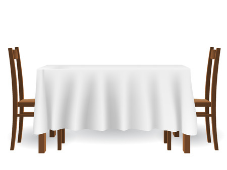 The kitchen table covered with a tablecloth and chairs. piece of furniture and interior decoration, isolated on white background. Stock Illustratie