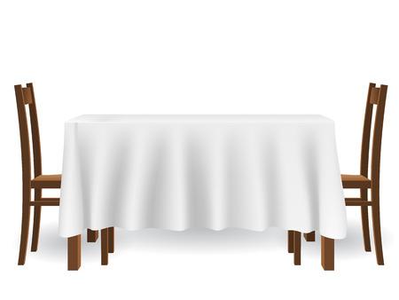 La mesa de la cocina cubierta con un mantel y sillas. mueble y la decoración entre otras, aislado en fondo blanco. Ilustración de vector