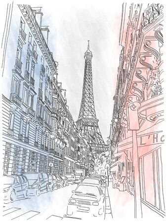skecth: Street of the city of Paris and view on Eiffel Tower on the background of the French flag Illustration