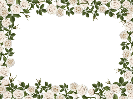 Square border of white roses. Vector decorative floral frame with empty place for text or photo. Vettoriali