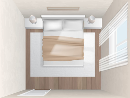 headboard: Top view bedroom with beige walls. Realistic vector interior.