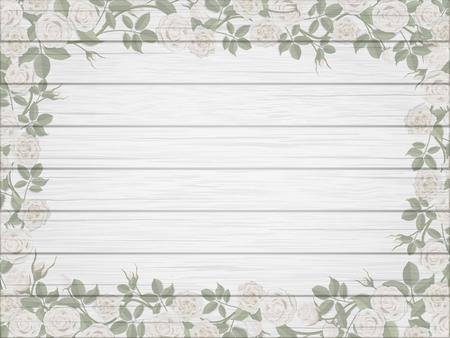 madera rústica: Frontera de la vendimia de rosas blancas sobre fondo blanco de madera en mal estado