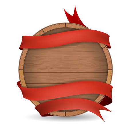 hogshead: Wooden barrel wrapped in red ribbon. Wooden label for wine making, brewing.