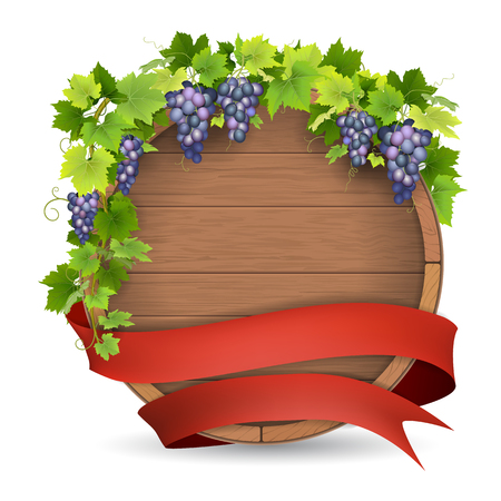 wine grapes: Wooden barrel for wine, grapes vine and red ribbon. Winemaking label template. Illustration
