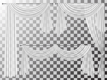 Set of transparent curtains different forms. Curtains are decorated with wavy folds lambrequins zhabot for the window decoration. Vectores