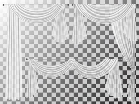 Set von transparenten Vorhänge verschiedenen Formen. Vorhänge sind mit gewellten Falten lambrequins zhabot für die Fensterdekoration verziert. Standard-Bild - 56351154