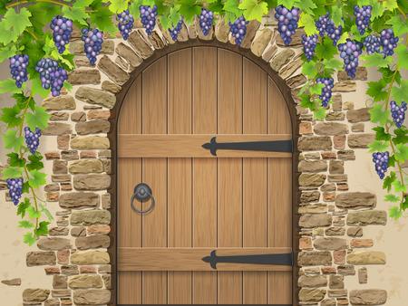 L'ingresso alla cantina decorata con grappoli d'uva. Arco di pietra porta di legno e uva da vino. Illustrazione vettoriale su vinificazione e viticoltura, coltivazione della vite.