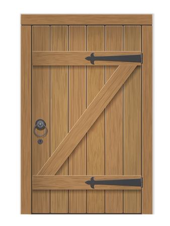 Old wooden door. Closed door, made of wooden planks, with iron hinges. Vector detailed isolated illustration. 일러스트