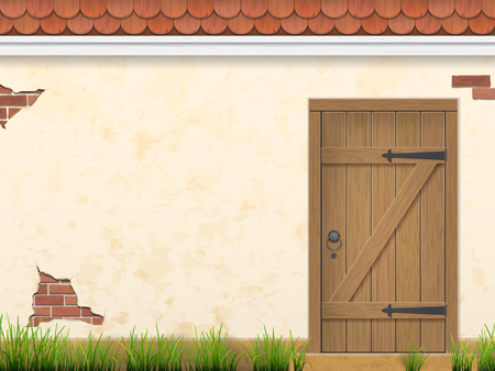 Old weathered wooden door in stucco wall with grass in the foreground. Rural facade view. Vector outdoor background. Vectores