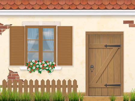 finestra: La facciata del vecchio edificio. Finestra in legno, porte e recinzione con erba in primo piano. stile architettonico tradizionale. Illustrazione vettoriale.