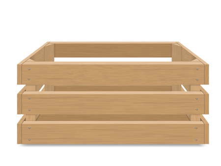 Empty wooden box for fruits and vegetables. Detailed vector illustration, Isolated. Box for transportation and storage of products.