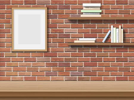 bricklaying: Top table picture frame, bookshelf on brick wall background.