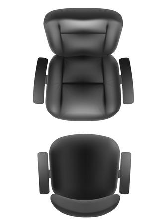 sillon: silla de oficina y sillón de jefe superior de vista realista, aislado. Muebles de despacho, gabinete o plan de sala de conferencias.
