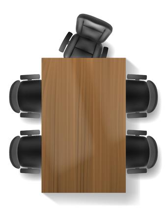silla de oficina y mesa, vista desde arriba realista, aislado. Muebles de despacho, gabinete o plan de sala de conferencias. Ilustración de vector